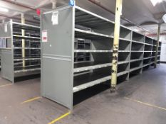 Heavy duty metal storage shelving - 144 bays, each with 5 pairs of beams and 35 metal shelf
