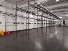 Garment hanging storage system - 60 bays, each with 2 pairs of rails (Rail width 6300mm x width