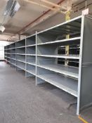 Heavy duty metal storage shelving - 78 bays, each with 5 pairs of beams and 35 metal shelf