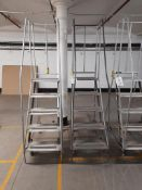 2 - 5-tread mobile warehouse step ladders (Silver)