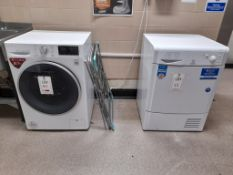 LG Direct Drive 9KG washing machine, an Indesit 8KG dryer and clothes horse