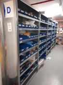 10 - Bays of electrical spares, consumables and sundry parts, as lotted. (Rows D & E) (Plastic stock