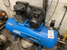 Abac B4919/200 200HP receiver mounted air compressor, Serial no. 9351. NB: The purchaser must ensure