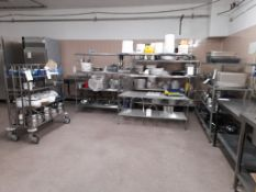 Large quantity of kitchen utensils, pots, pans, trays etc., as lotted. (Racks not included)