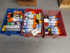 Quantity of aerosols and lubricants, as lotted in 3 tote bins