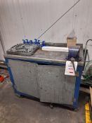 Mobile tool trolley with vice and tools, as lotted