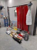 2 - Mobile welding curtains, 1 - Futuris electrode quiver model EQ-93SD, Serial no. CX240, masks,