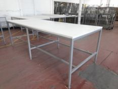 White 'Quality Control' workbench. Height adjustable. Approx. 1,220mm x 3,000mm (Photo for