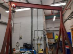 Morris chain block with mobile fabricated frame, SWL 500Kg, frame circa 2.4m wide x 3m. NB: This