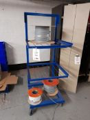 Three tier mobile rack/trolley (blue) (contents excluded)