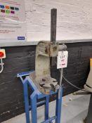 Dake model 1 arbor press, mounted on metal stand