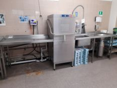 Hobart AMXX-31 electric commercial hood dishwasher, s/n 86580446, purchase date 28/02/2012, with