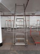 1 - 7-tread mobile warehouse step ladders (Silver)