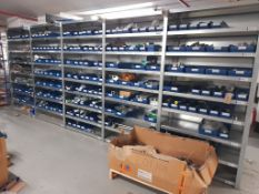 15 - Bays of engineering spares, consumables and sundry parts, as lotted (Rows A, B & C) (Plastic