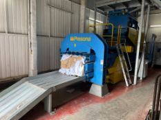 Presona LP 50 VH1 cardboard baler, Serial no. 5554, Year 2012 with 2 - inclined infeed conveyors,