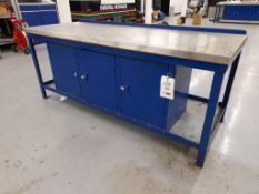 Workbench, with fitted 3-door cupboard