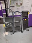 3 - 3-tread step ladders, as lotted
