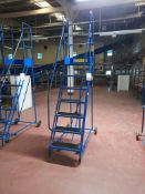 8-tread mobile warehouse step ladders (Blue)