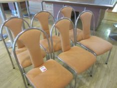 Eight chrome frame upholstered seat/back stacking canteen chairs
