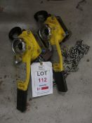 Two Yale Uno 0.75 tonne lever hoists, serial no. 81012642 & 81012615 (2008) (Please Note: We do