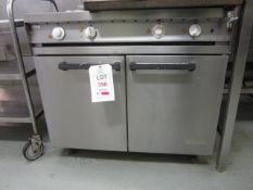 Falcon Dominator stainless steel electric griddle/2 ring cooker, with double oven, 900mm x 850mm x