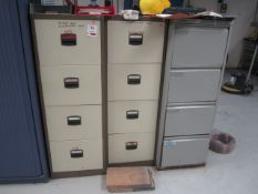 Eight assorted 4 drawer filing cabinets