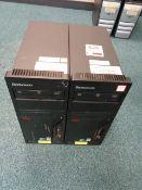 Two Lenovo Thinkcentre desktop PC towers, type 7635