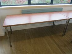 Two veneered top rectangular canteen tables, 1830mm x 760mm