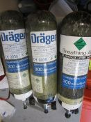 Three Drager compressed air cylinders
