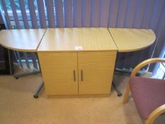 Wood effect low level 2 door storage cupboard, two matching corner tables, upholstered meeting