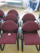 Five black frame upholstered meeting armed chairs