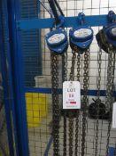 Two Liftingear 500kg chain hoists, model HSZ-A619, serial no. 15836770 & 16036803 (2016) (Please