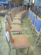 Ten chrome frame upholstered seat/back stacking canteen chairs
