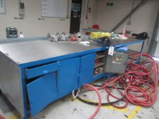 """Two steel framed workbenches, assorted size, and two steel framed bench vides, 4½"""" and 6"""""""