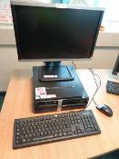 HP Pro 3010 STF Desktop PC, serial no. CZC0108BD, HP Compaq LA 2205 wg LCD monitor, keyboard, mouse