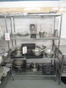 Quantity of assorted pots, pans, cooking utensils, trays, etc.