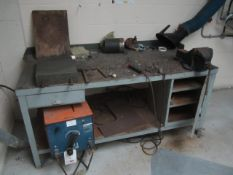 """AGA Viking 201DC arc welder with magnetic plate, workbench and 6"""" bench vice - Disconnection to be"""