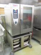 Rational stainless steel shelf cooker centre, model SC101, serial no. AC400/50-60, mounted on