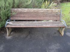 Metal framed timber slatted bench, 1800mm length (Please Note: bolted to the floor, puchaser to