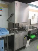 Stainless steel washing station including Hobart top load commercial dishwasher, 650 x 650, U