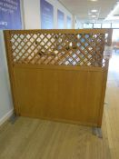 Three wood/lattice topped canteen partitioning screens, 1500mm x 1500mm