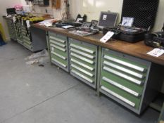 Bolt multi drawer tool/stock chest drawers, with fitted timber framed worktop and assorted