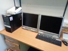 Two HP Pro 3010 MT desktop PCs, two LCD monitors