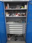Bott compact steel 2 door /5 drawer cabinet with contents including allen keys, bolts, pipe