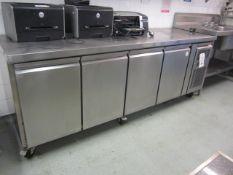 Unbadged stainless steel 4 door refrigerator with preparation worktop, 2230mm x 700mm x H850mm