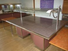 Tiled top serving counter with warming lamps, under storage cupboards, part glazed, 1550mm x 2.2m