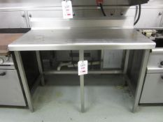 Stainless steel preparation table with splash back, 1.4m x 700mm