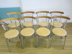 Eight chrome frame upholstered seat canteen chairs