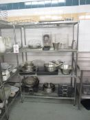 Three chrome frame 4 shelf racks, 1200mm x 600mm - excludes contents