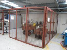 Steel framed triple sided mesh panel, single sliding door storage cage, 5700 x 4000mm